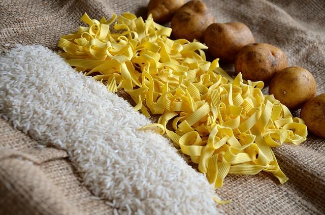 nudle rýže brambory