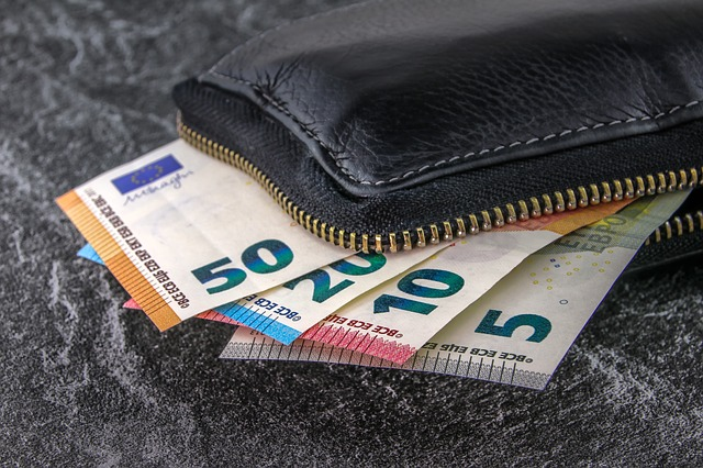 bankovky a peněženka